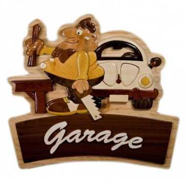 Plaque de porte en bois Garage