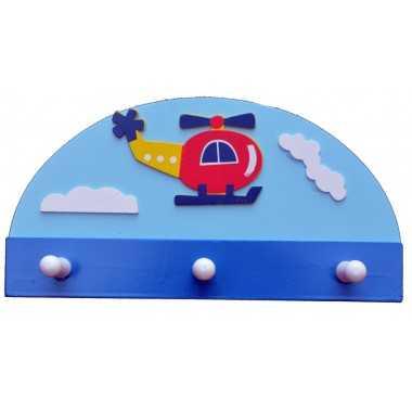 Porte manteaux helicopter prénom en bois pour chambre d'enfant