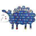 Porte manteaux mouton bleu prénom en bois pour chambre d'enfant