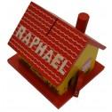 Tirelire rouge jaune en bois prénom