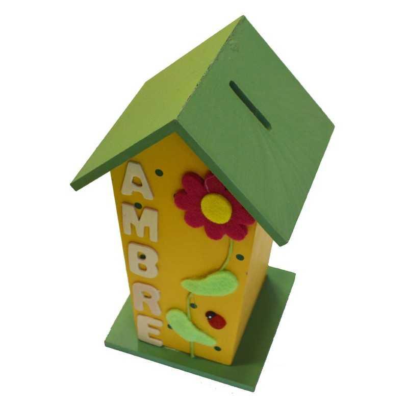 Tirelire cabane jaune et verte en bois prénom