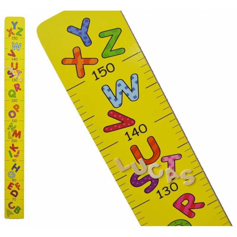 La toise en bois prénom alphabet jaune