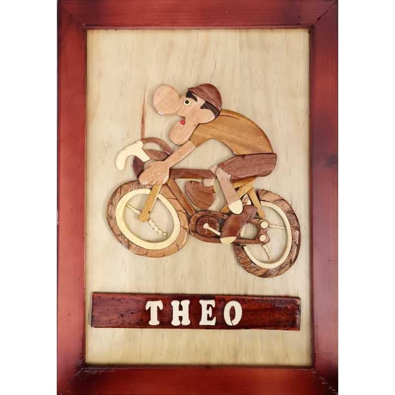 La plaque prénom en bois Cycliste