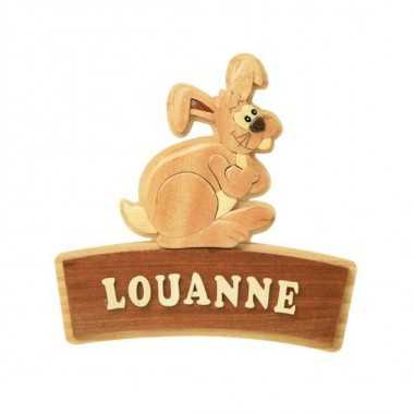 LAPIN - Plaque de porte prénom en bois