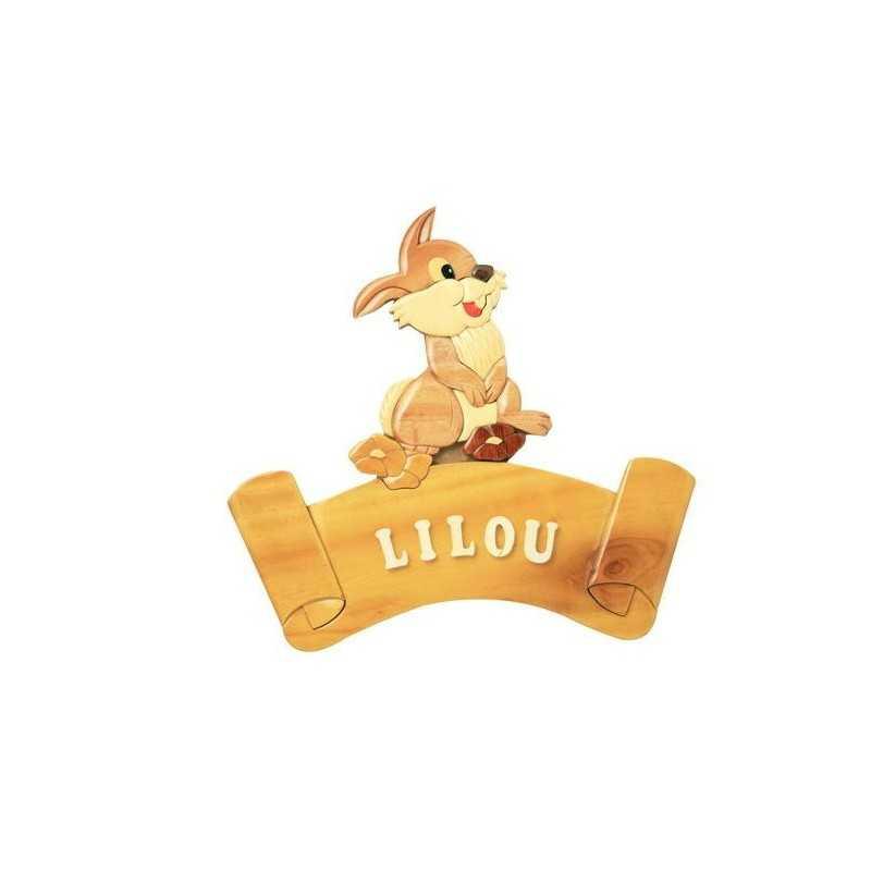 Cadeaux de naissance la plaque porte pr nom en bois lapin - Plaque de porte prenom ...