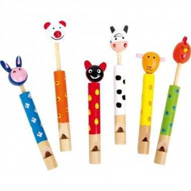 Sifflet flute en bois animaux