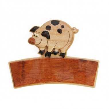 COCHON - Plaque de porte prénom en bois