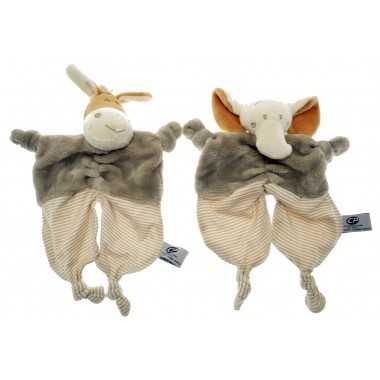 Doudou animaux tissu clair