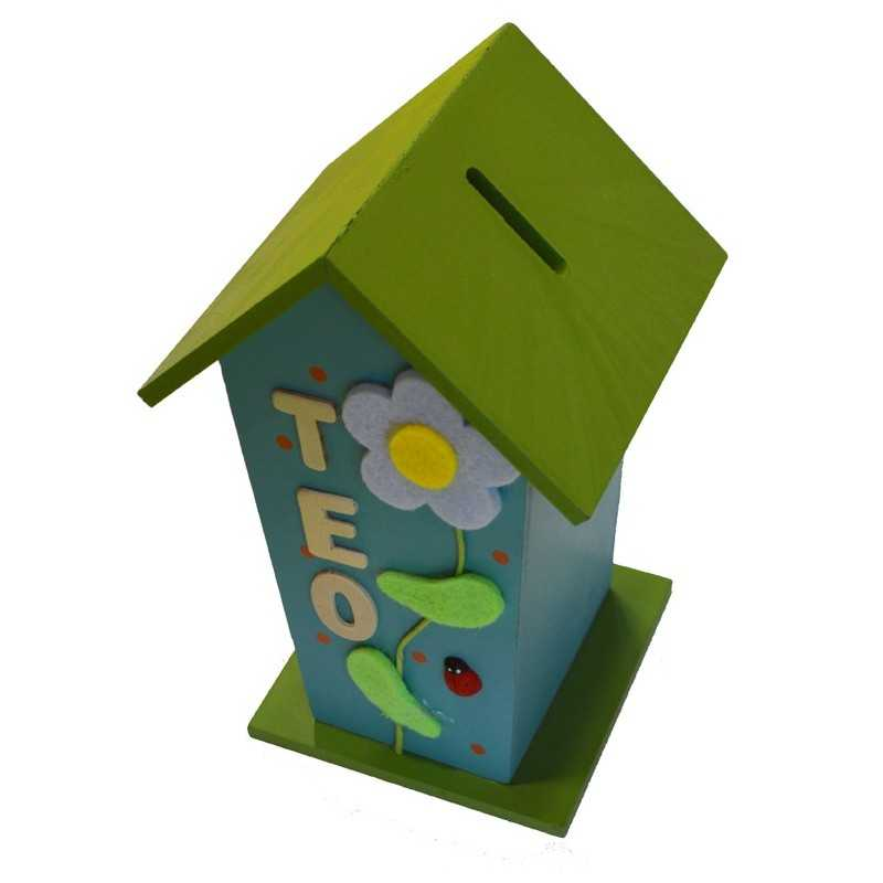 Tirelire cabane bleu et verte en bois prénom